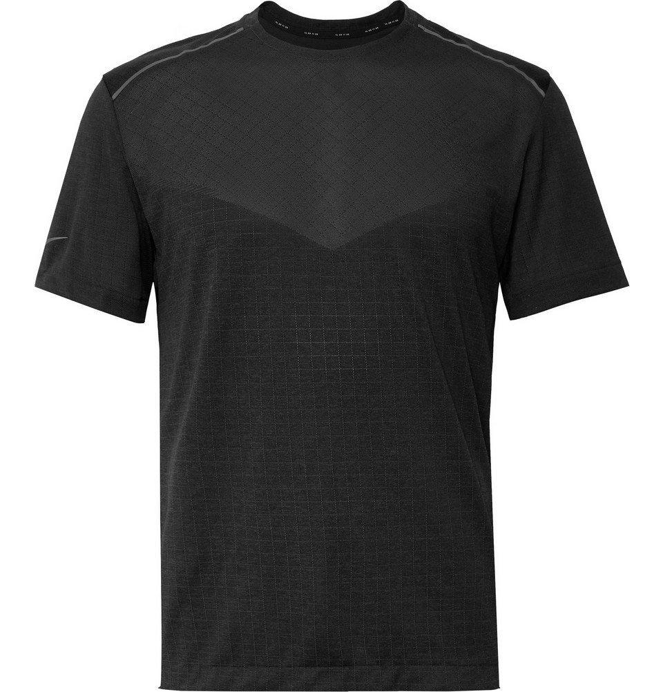 Nike Running - Tech Pack Stretch Jacquard-Knit Running T-Shirt - Black