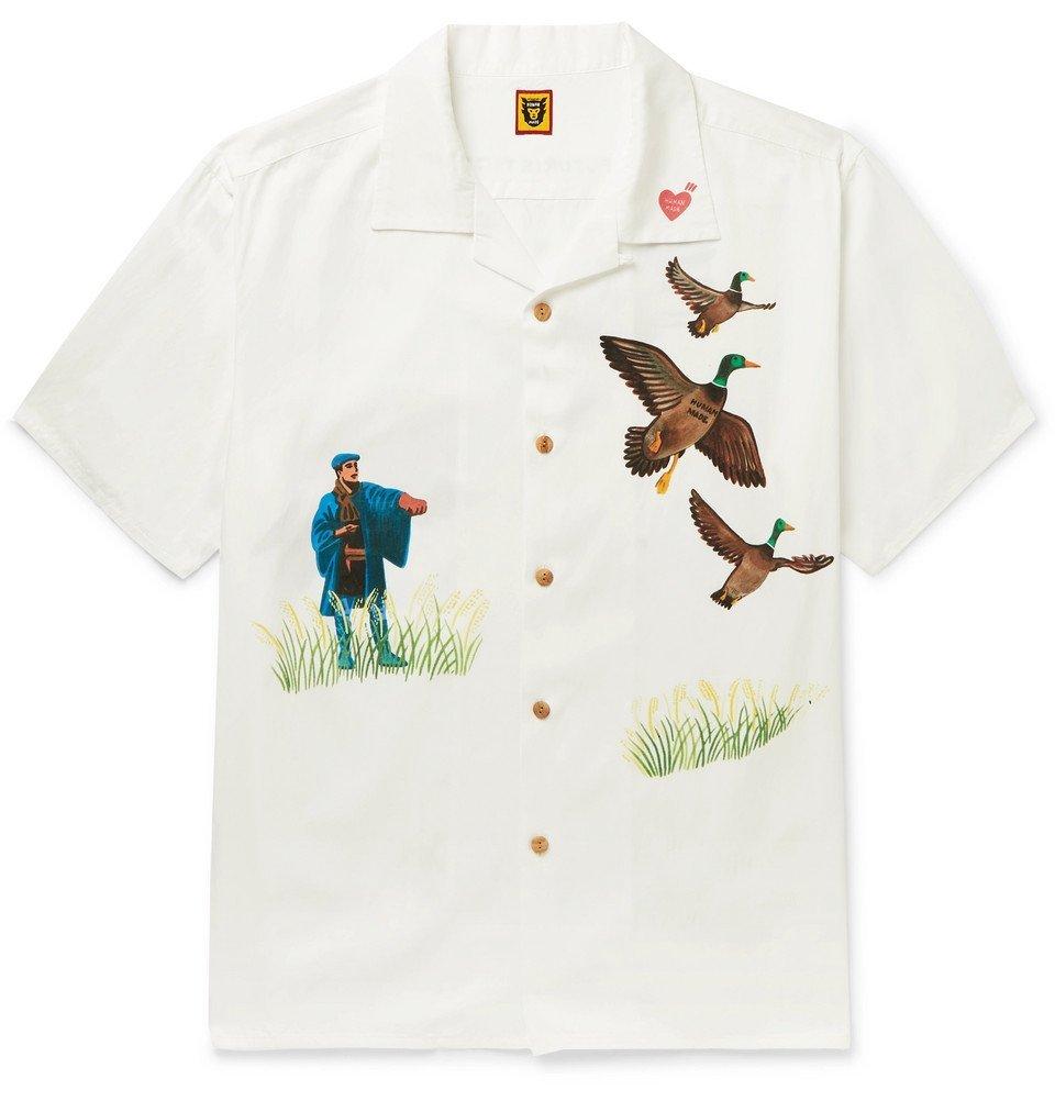 Photo: Human Made - Yokosuka Camp-Collar Printed Voile Shirt - White