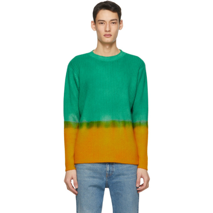 Photo: The Elder Statesman Green and Yellow Cashmere Dip Rib Simple Crew Sweater