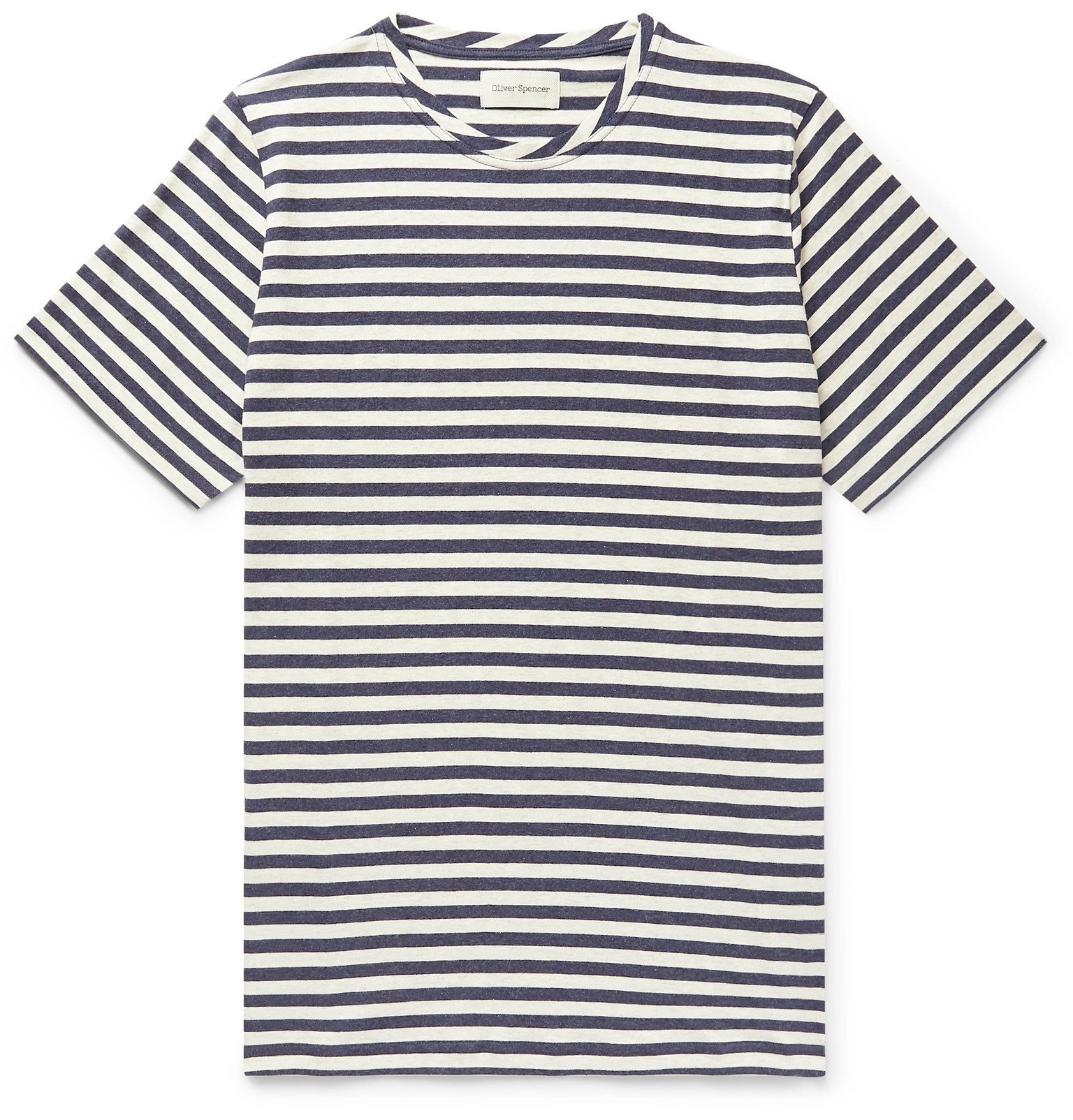 Photo: Oliver Spencer - Striped Cotton-Jersey T-Shirt - Blue