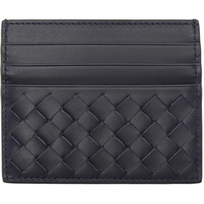 Bottega Veneta Navy Intrecciato Card Holder