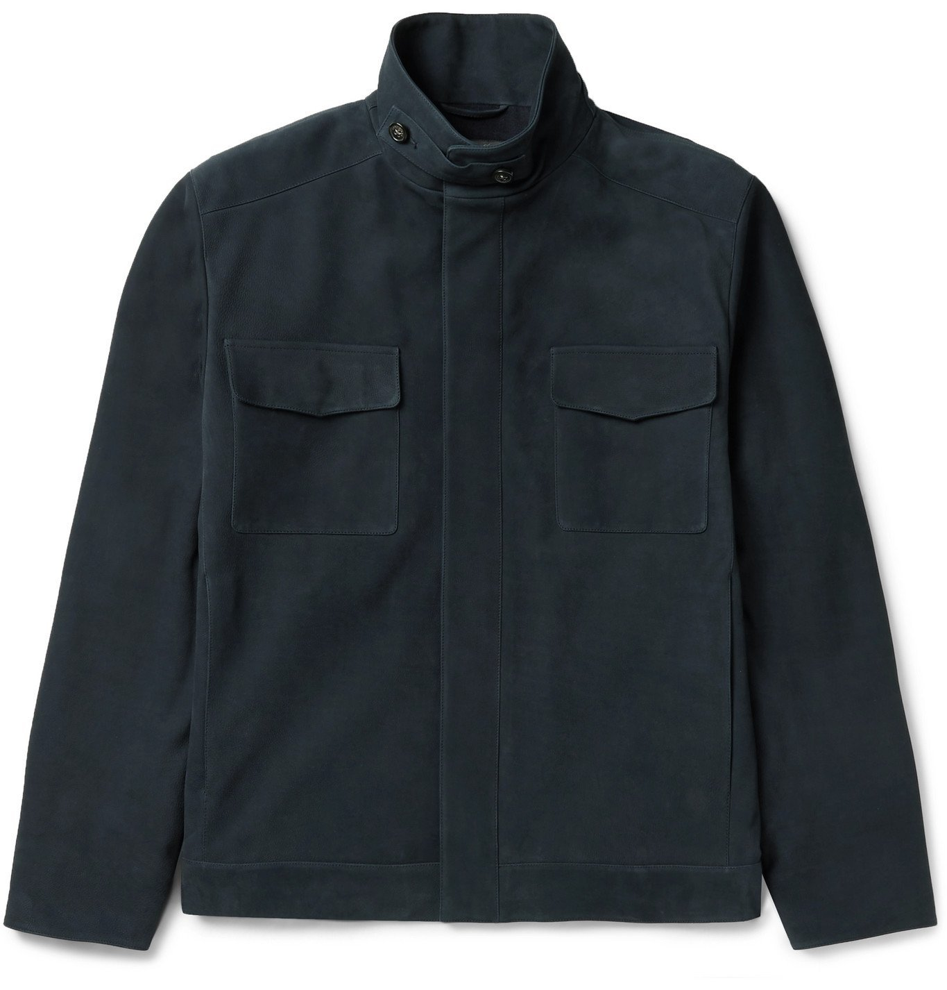 Photo: Loro Piana - Traveller Biker Cashmere-Lined Nubuck Jacket - Blue