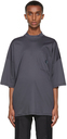 Giorgio Armani Navy Organic Cotton Jersey Mock Neck T-Shirt