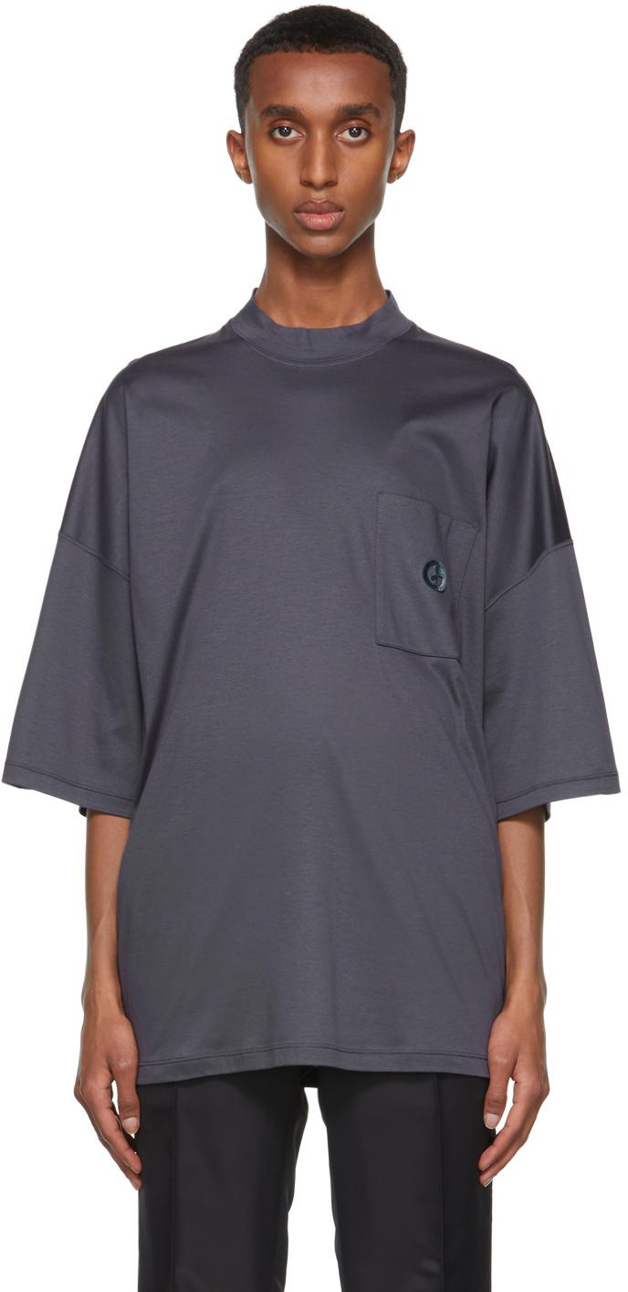 Photo: Giorgio Armani Navy Organic Cotton Jersey Mock Neck T-Shirt