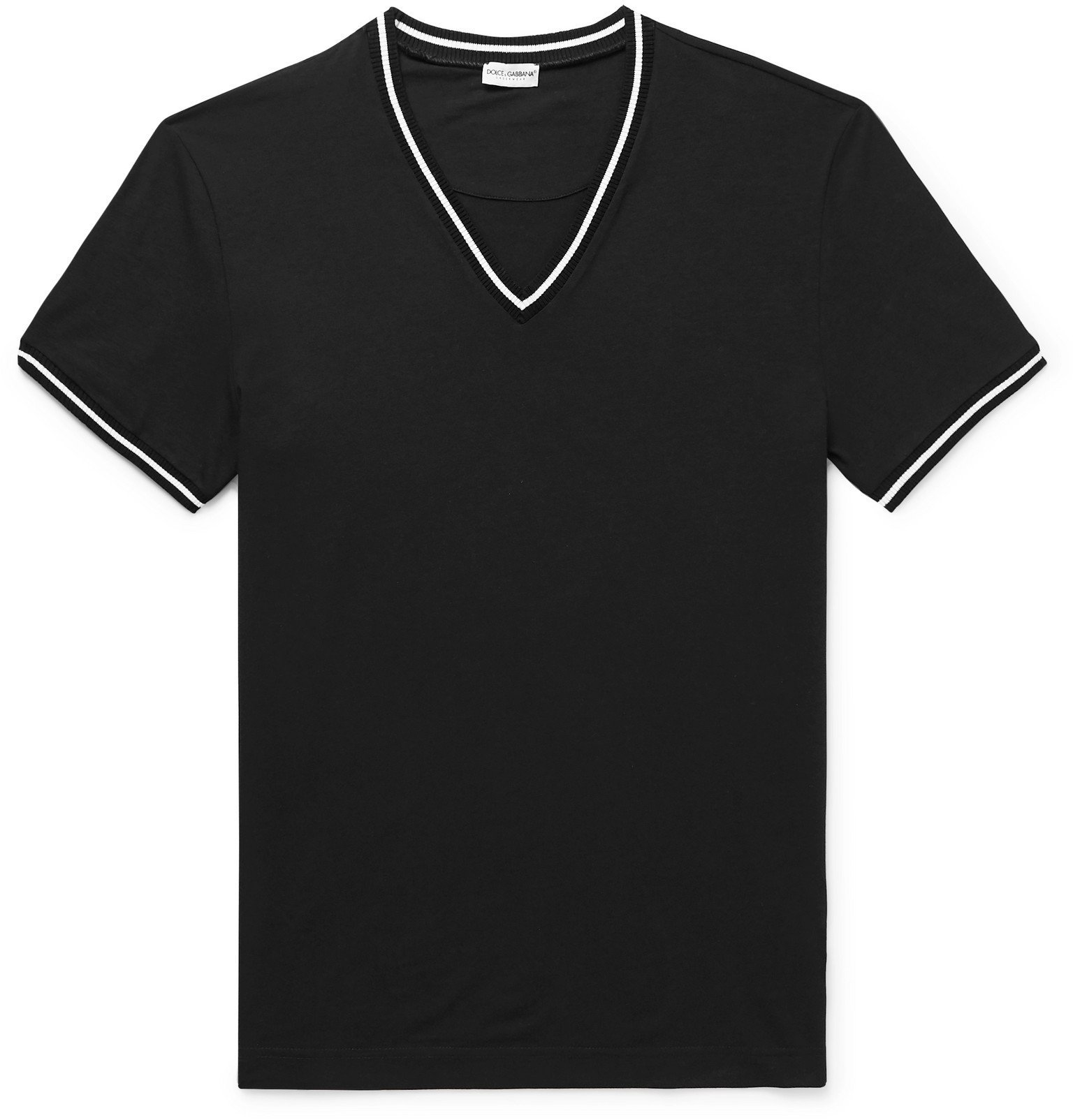 Photo: Dolce & Gabbana - Stretch Cotton-Jersey T-Shirt - Black