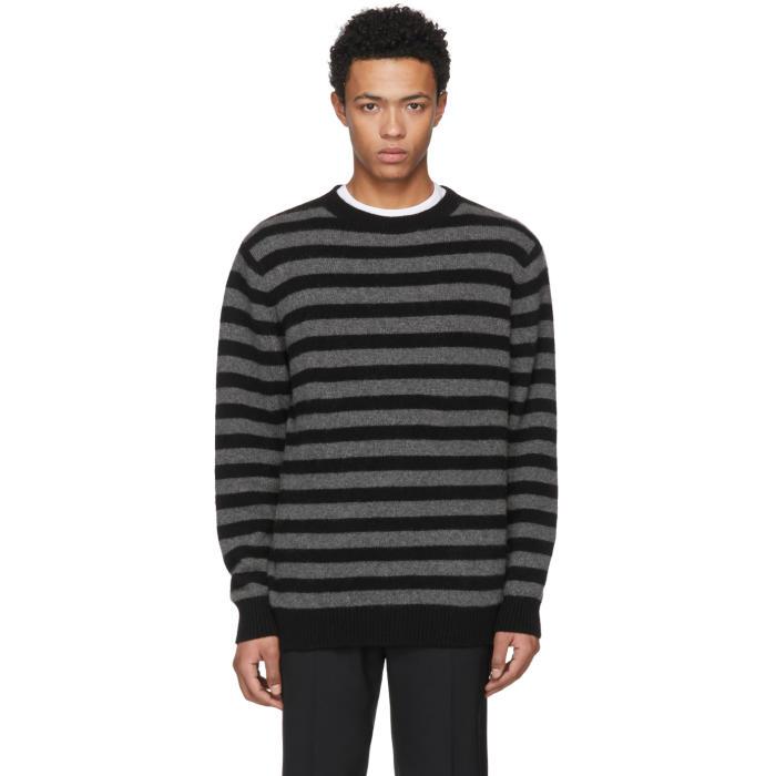 The Elder Statesman Grey and Black Inch Stripe Sweater