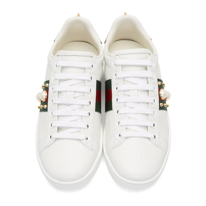 80062fa1ae0 Gucci White Pearl Stud New Ace Sneakers Gucci