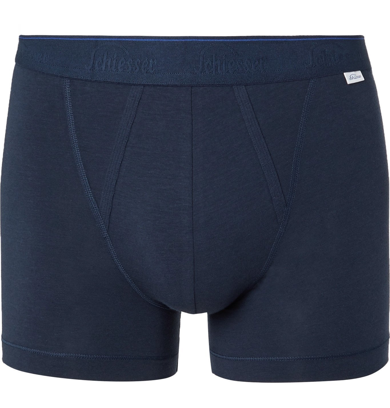 Photo: SCHIESSER - Lorenz Stretch Cotton and Modal-Blend Boxer Briefs - Blue