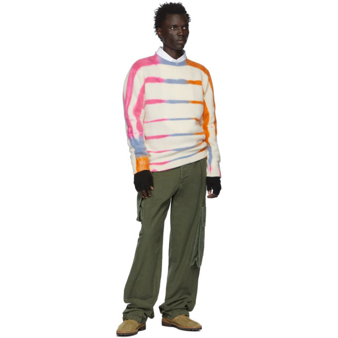 The Elder Statesman Off-White and Pink Cashmere Ladder-Dye Sweater