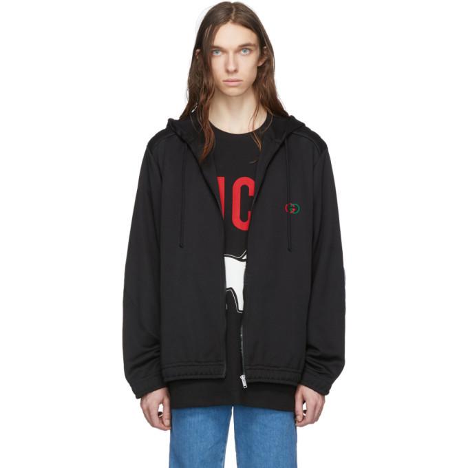 Photo: Gucci Black Logo Oversized Zip Hoodie
