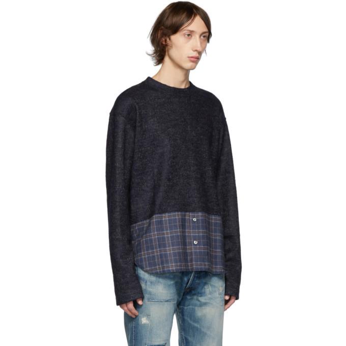 Junya Watanabe Navy and Grey Jacquard Sweater