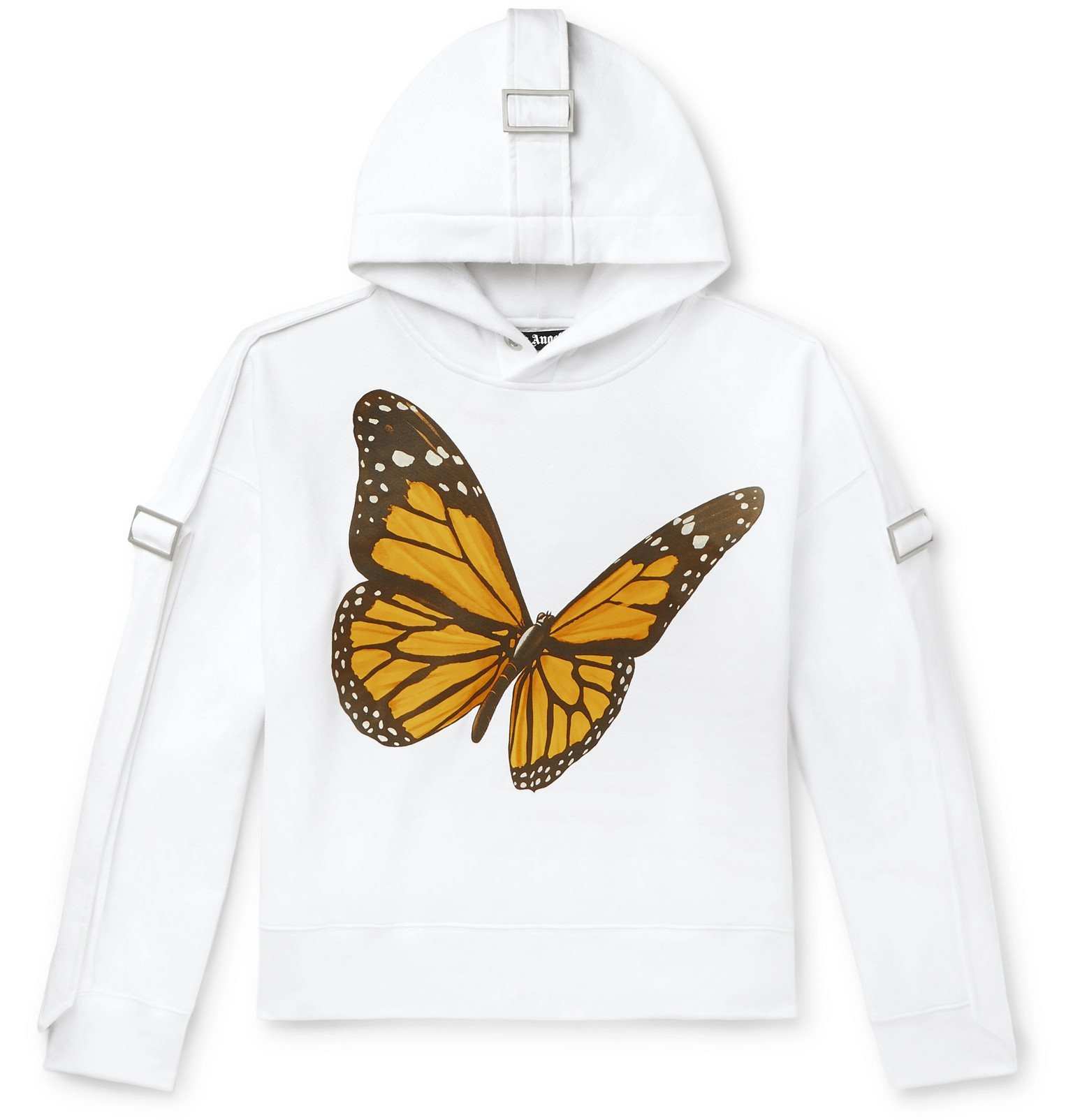 Photo: Palm Angels - Oversized Canvas-Trimmed Printed Cotton-Jersey Hoodie - White