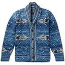 RRL - Shawl-Collar Intarsia Cotton-Blend Cardigan - Men - Indigo