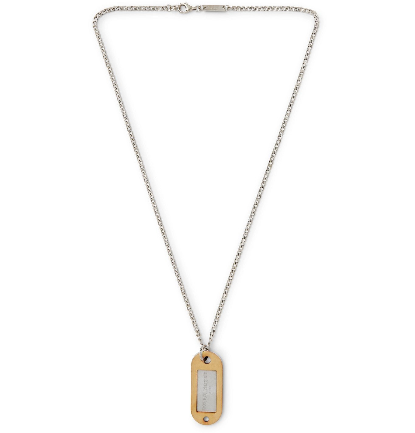 Photo: Maison Margiela - Sterling Silver and Gold-Tone I.D. Necklace - Silver