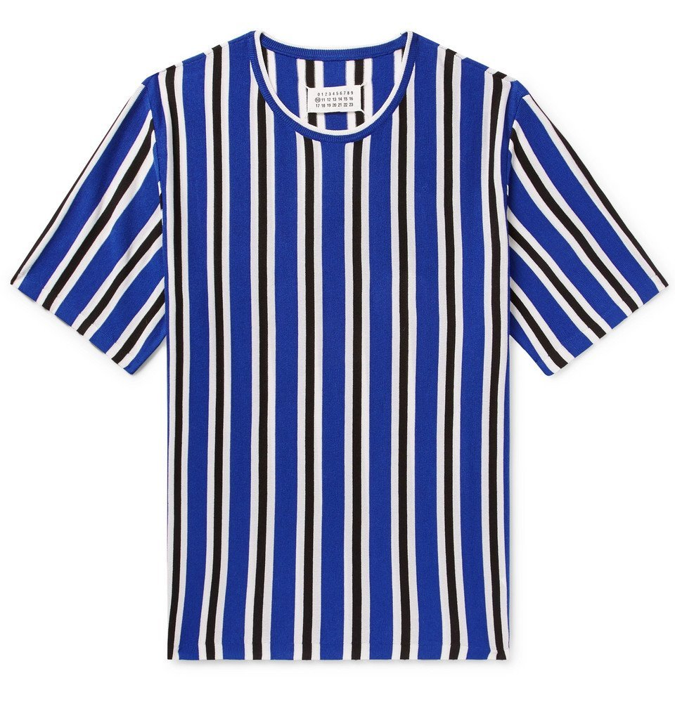 Photo: Maison Margiela - Striped Knitted Wool-Blend T-Shirt - Men - Blue