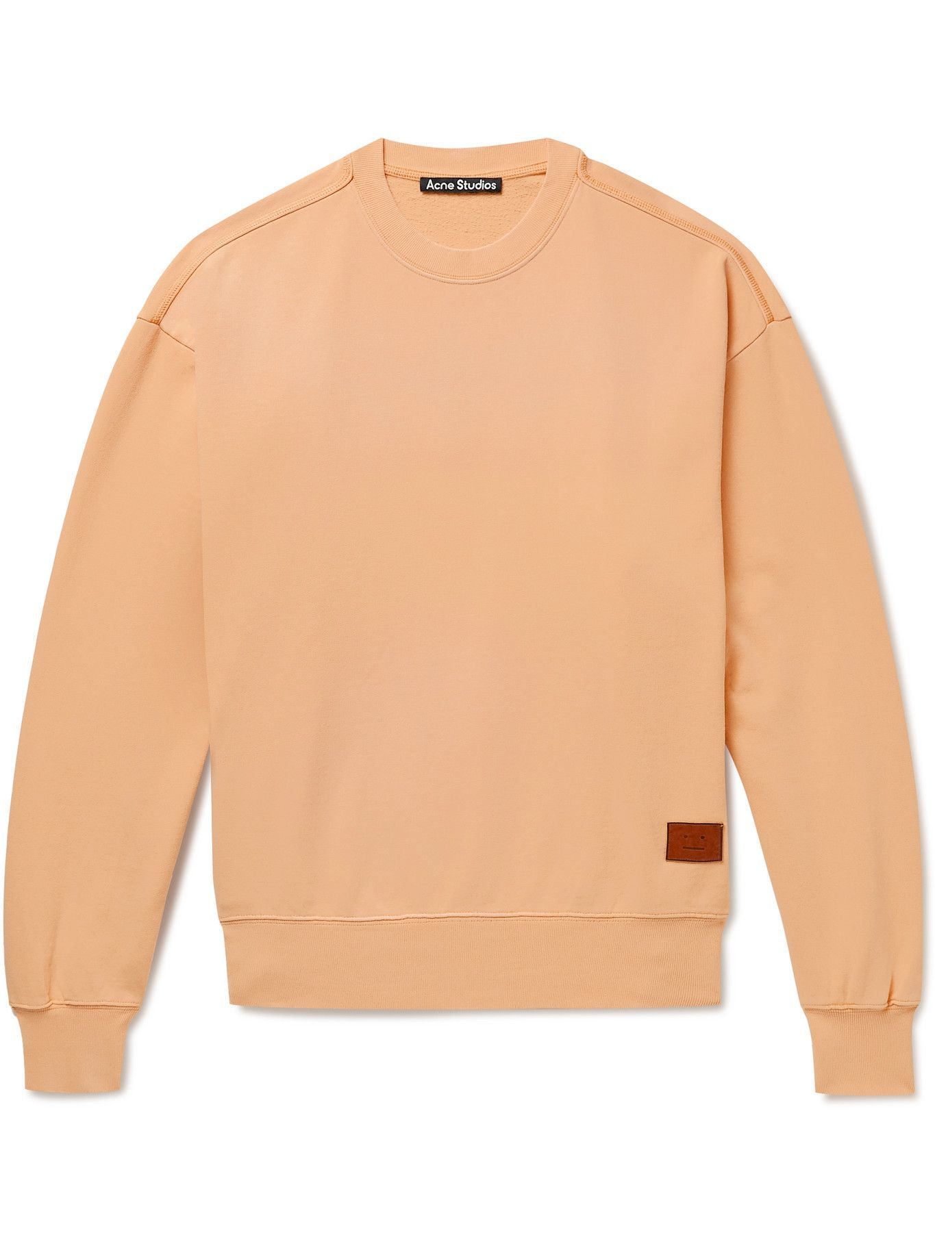 Photo: Acne Studios - Fiah Logo-Appliquéd Printed Cotton-Jersey Sweatshirt - Orange