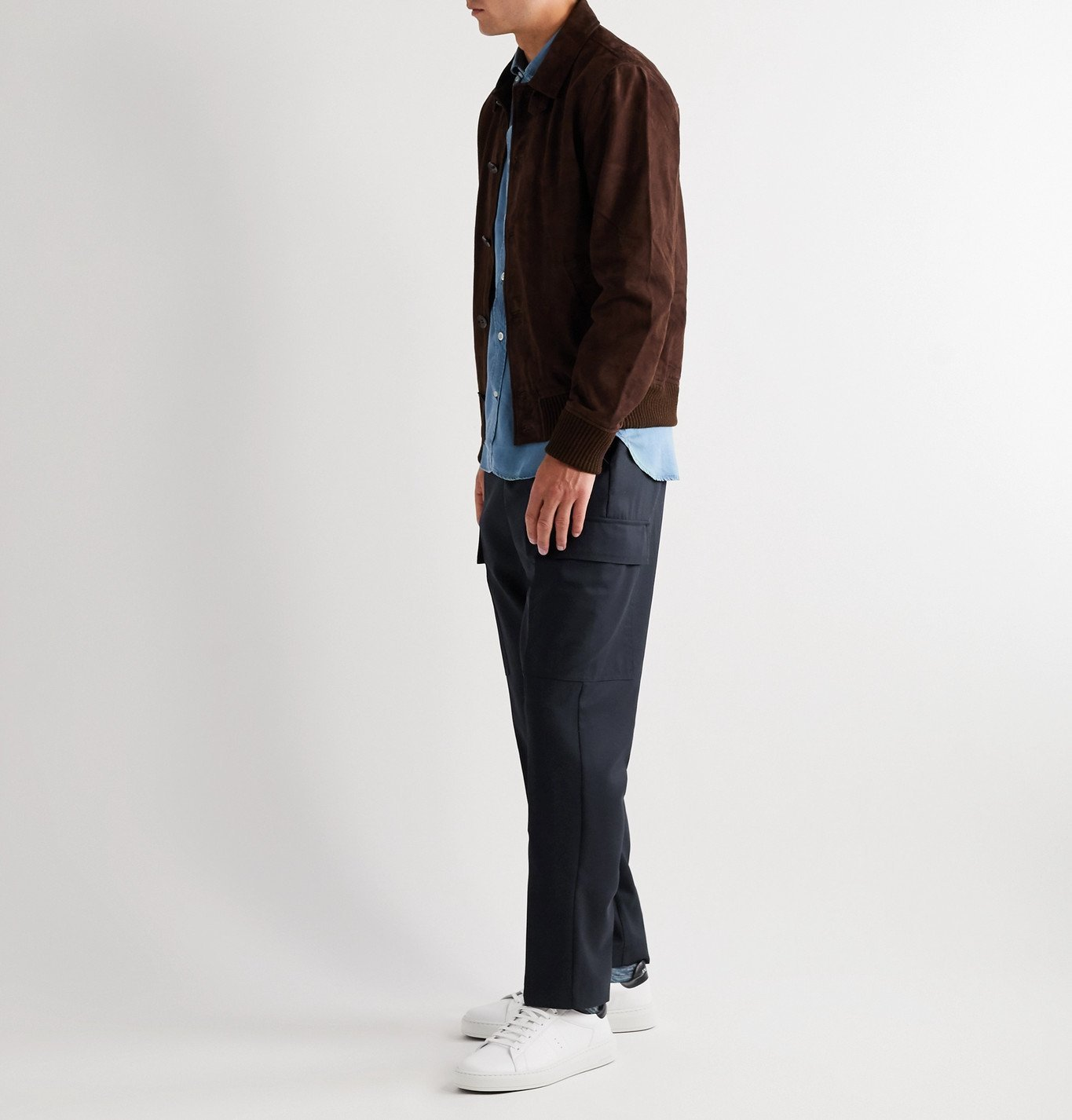 Officine Generale - Geron Tapered Wool-Twill Cargo Trousers - Blue