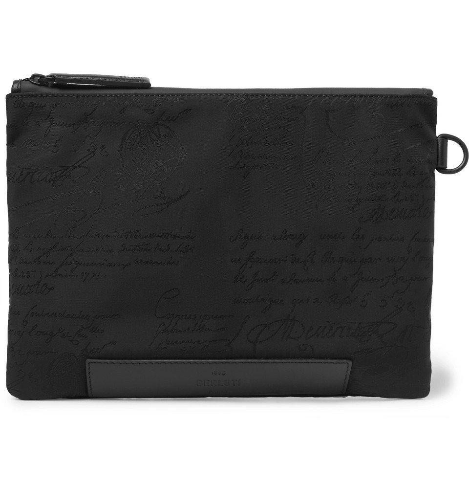 Photo: Berluti - Scritto Leather-Trimmed Nylon Zip-Around Pouch - Black