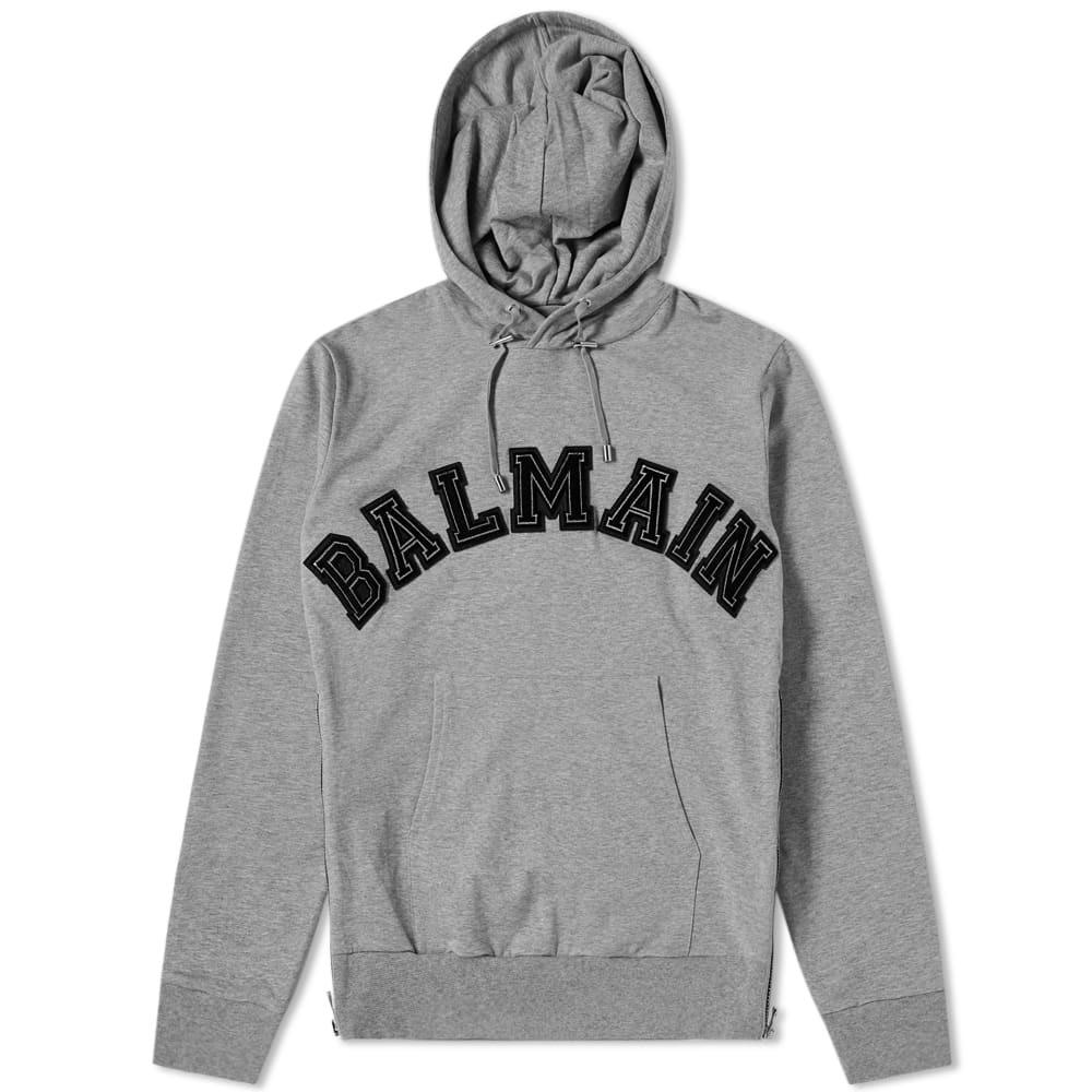 Photo: Balmain Applique Logo Popover Hoody Grey