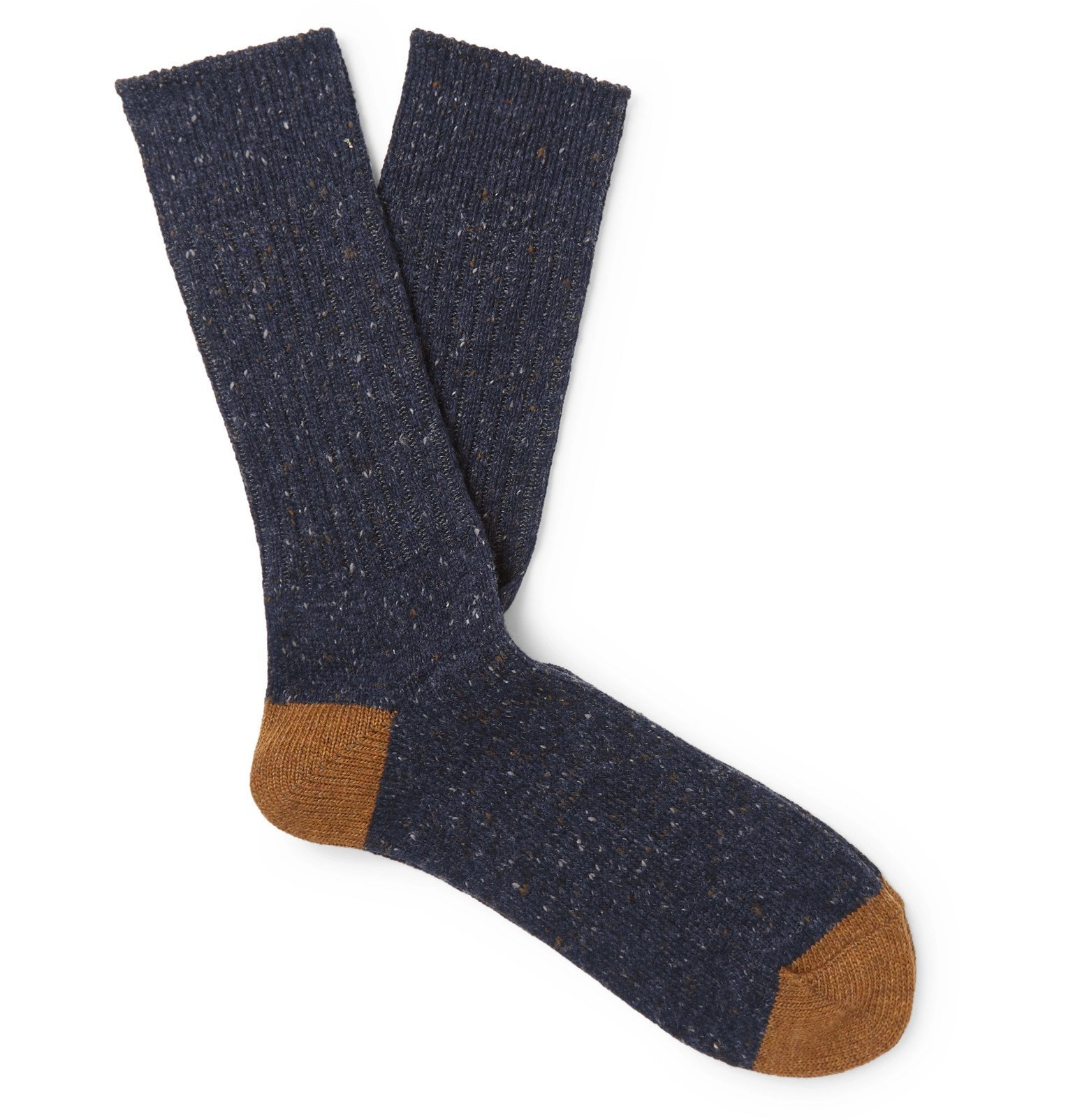 Photo: Anonymous Ism - Two-Tone Mélange Knitted Socks - Blue