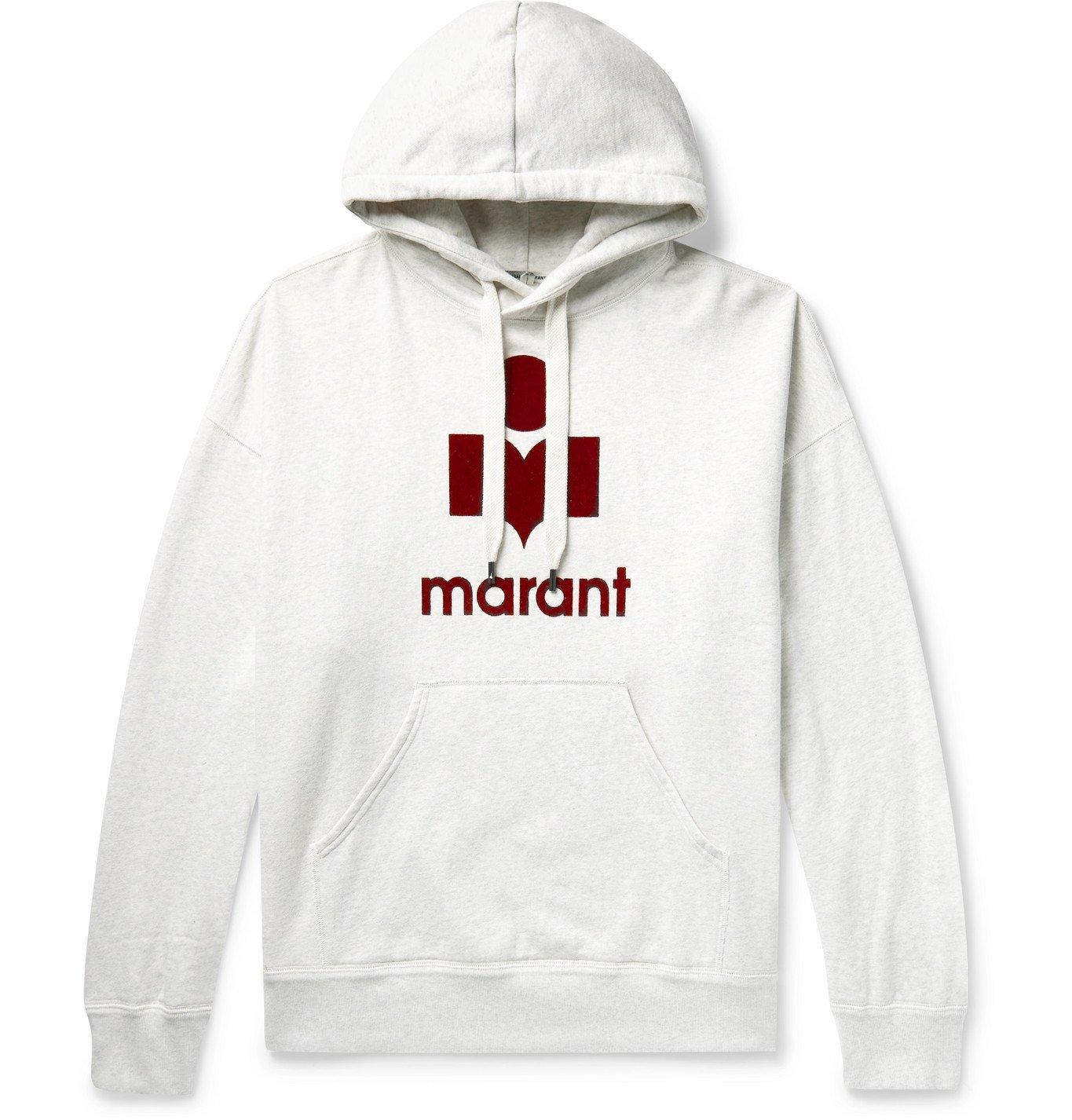 Photo: Isabel Marant - Miley Logo-Flocked Mélange Fleece-Back Cotton-Blend Jersey Hoodie - Neutrals