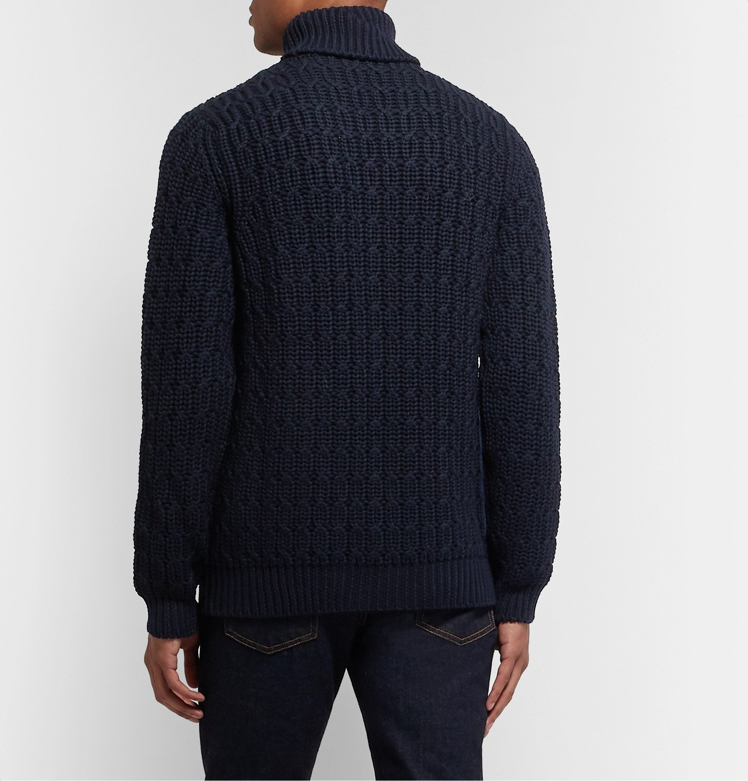 Tod's - Cable-Knit Merino Wool Rollneck Sweater - Blue
