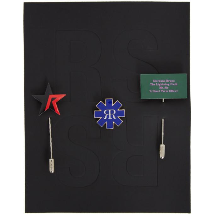 Raf Simons Set of Mismatched Multicolor Pins