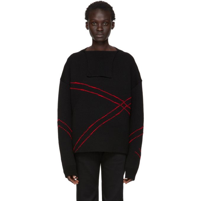Photo: Raf Simons Black and Red Jacquard Loose Collar Sweater
