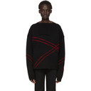 Raf Simons Black and Red Jacquard Loose Collar Sweater