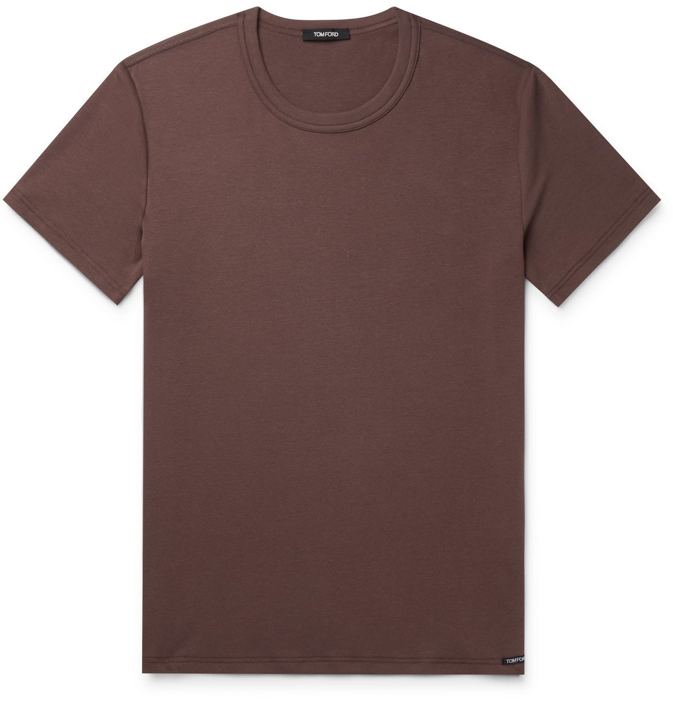 Photo: TOM FORD - Slim-Fit Mélange Stretch-Cotton Jersey T-Shirt - Brown
