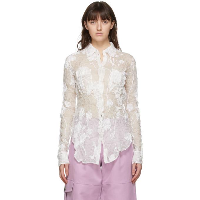Nina Ricci White Silk Crinkled Shirt