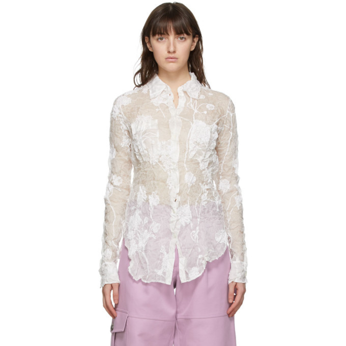 Photo: Nina Ricci White Silk Crinkled Shirt