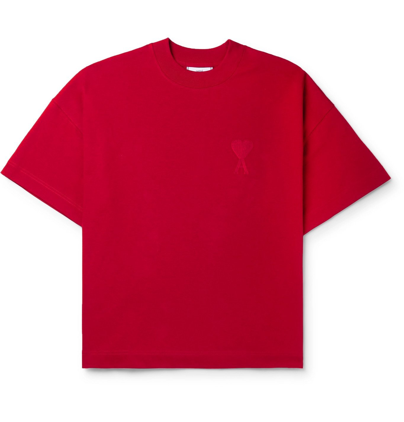 Photo: AMI - Logo-Embroidered Cotton-Jersey T-Shirt - Red