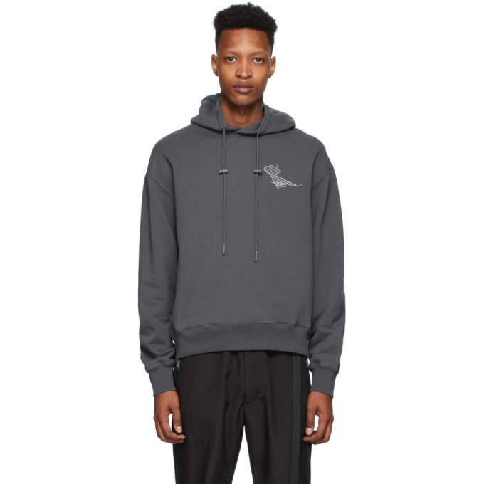 Photo: C2H4 Grey Distorted Horizon Coordinate Printed Hoodie