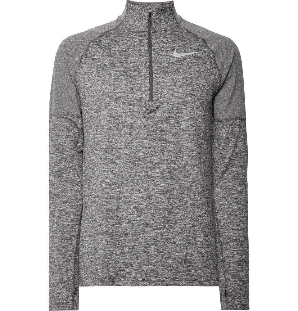 Nike Running - Element Rib-Panelled Mélange Dri-FIT Half-Zip Top - Men - Gray