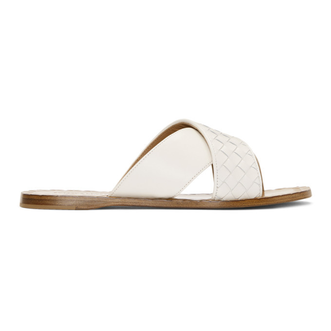 Photo: Bottega Veneta White Intrecciato Criss Cross Sandals
