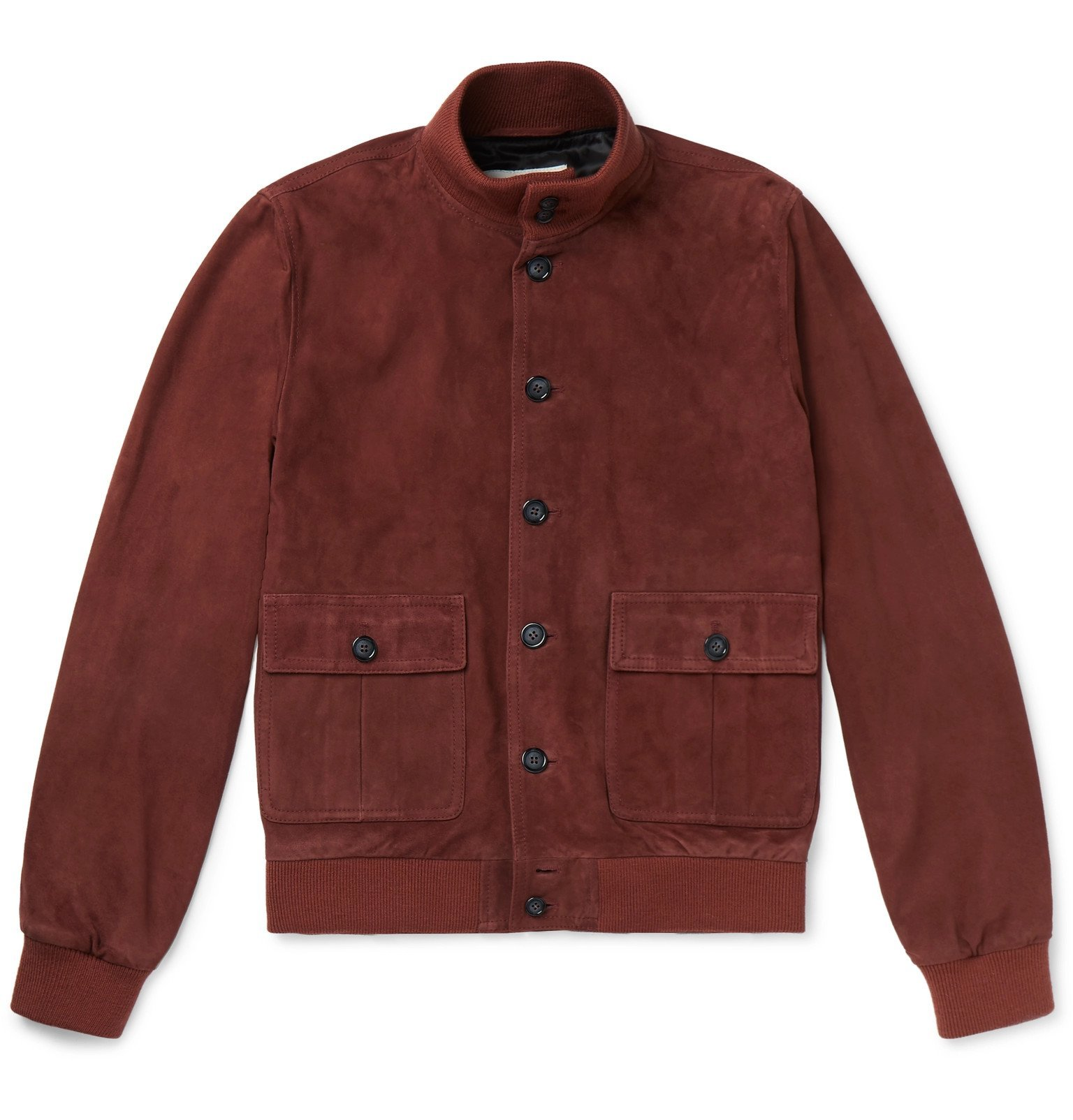 Photo: Valstar - Valstarino Slim-Fit Suede Bomber Jacket - Burgundy