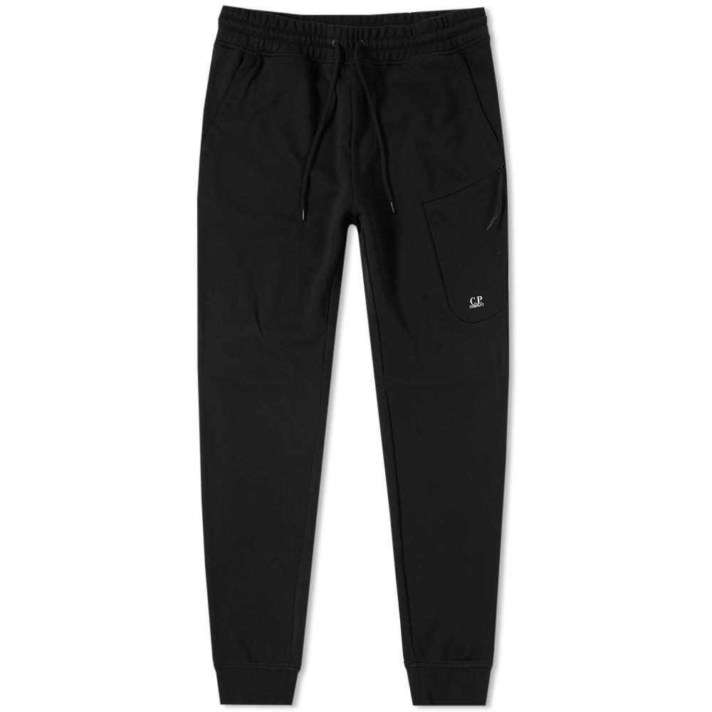 C.P. Company Diagonal Fleece Logo Sweat Pant Black