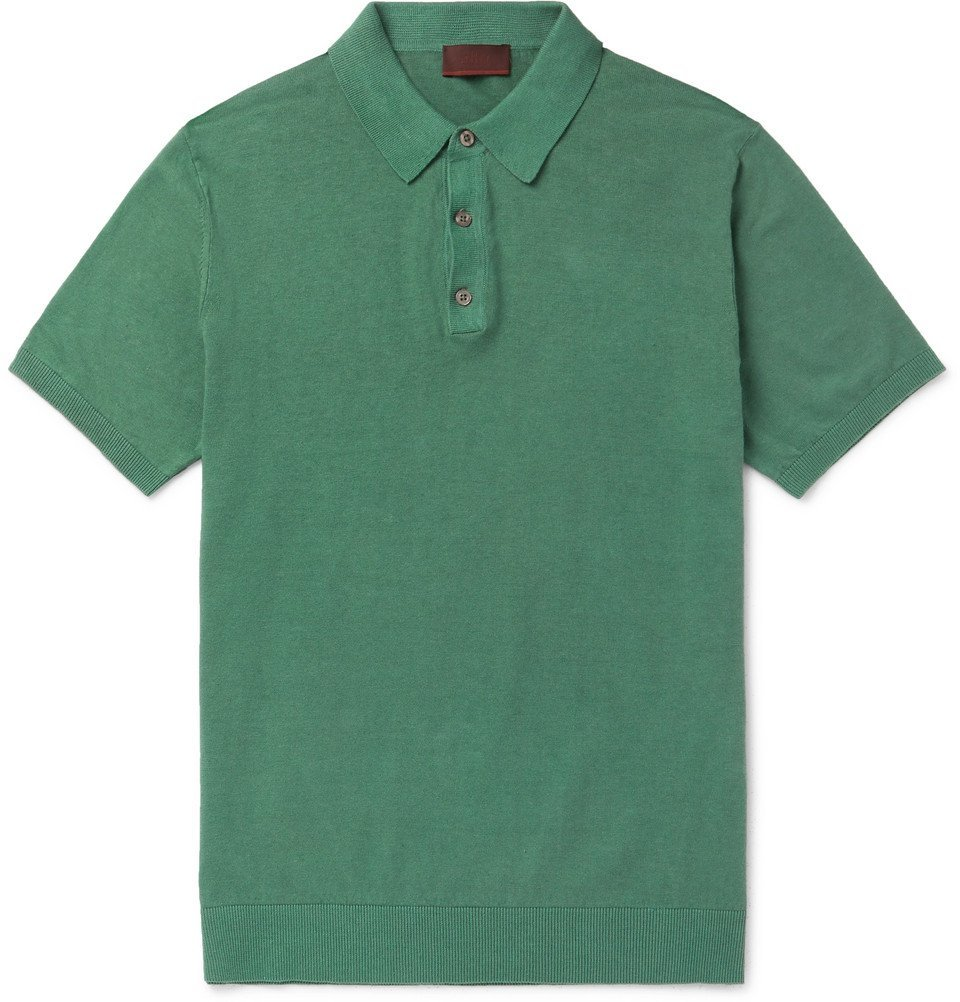 Photo: Altea - Knitted Linen and Cotton-Blend Polo Shirt - Green