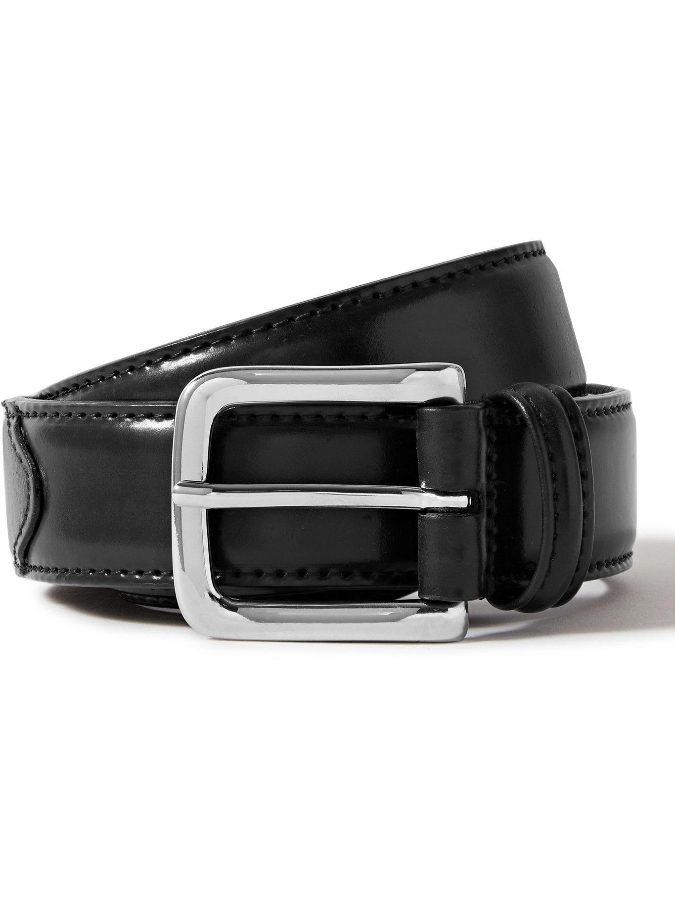 Photo: ANDERSON'S - 4cm Black Leather Belt - Black