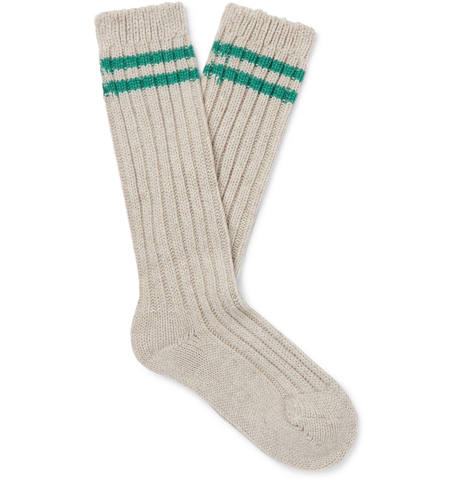 Photo: The Elder Statesman - Yosemite Ribbed Striped Cashmere Socks - Neutrals