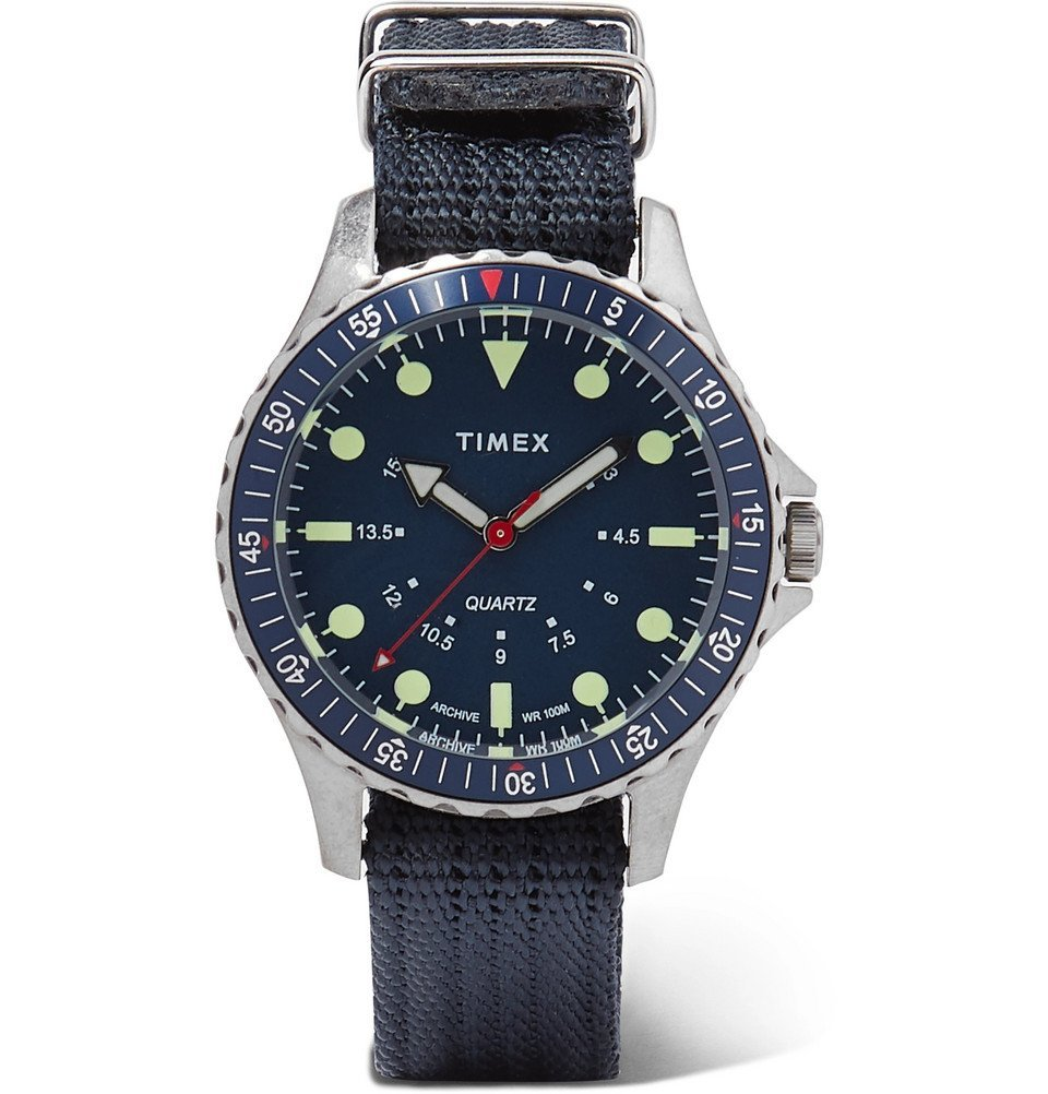 Photo: Timex - Navi Depth Stainless Steel and Nylon-Webbing Watch - Blue