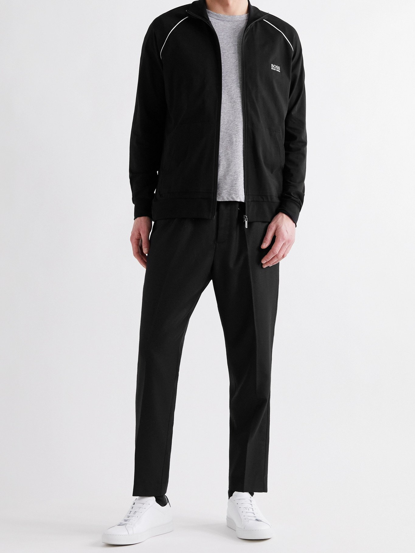HUGO BOSS - Piped Logo-Embroidered Stretch-Cotton Jersey Track Jacket - Black - S
