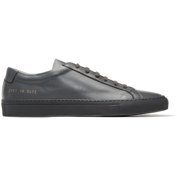 Common Projects Grey Achilles Low Duo-Tone Sneakers