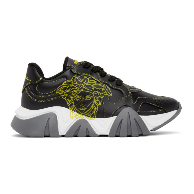 Photo: Versace Black and Yellow Pop Medusa Low-Top Sneakers