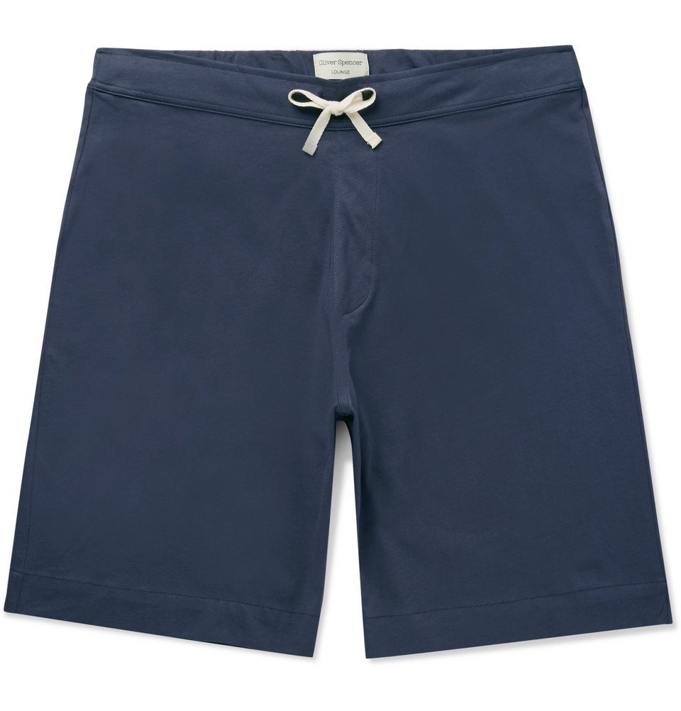 Photo: Oliver Spencer Loungewear - York Supima Cotton-Jersey Shorts - Midnight blue