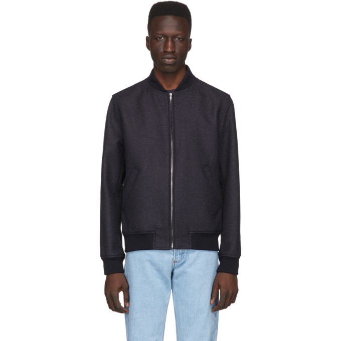 Photo: A.P.C. Navy Wool Mathieu Bomber Jacket