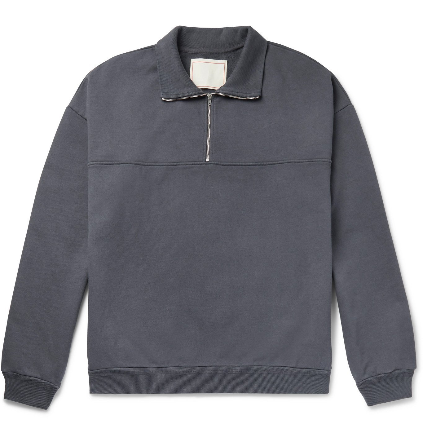 Photo: Jeanerica - Fleece-Back Organic Cotton-Jersey Half-Zip Sweatshirt - Gray