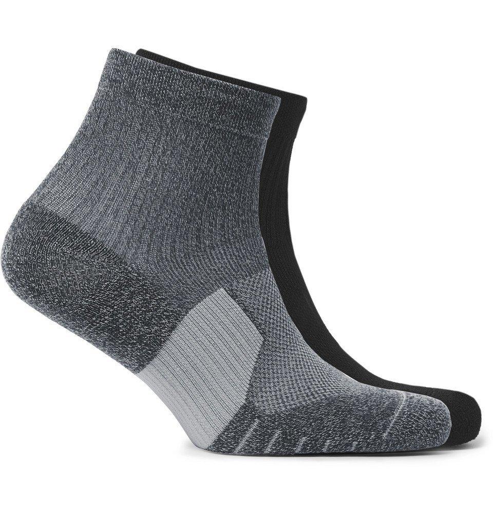 Nike Running - Two-Pack Multiplier Logo-Intarsia Dri-FIT Socks - Black
