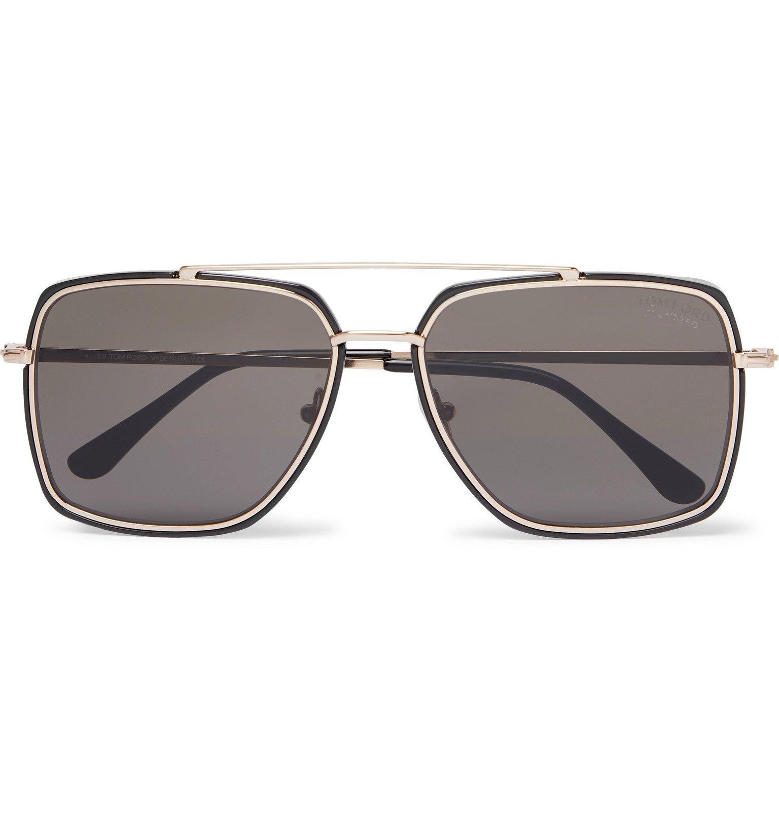 Photo: TOM FORD - Aviator-Style Acetate and Gold-Tone Sunglasses - Black